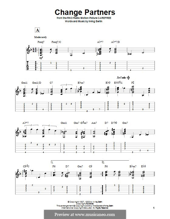 Change Partners: For guitar with tab by Irving Berlin