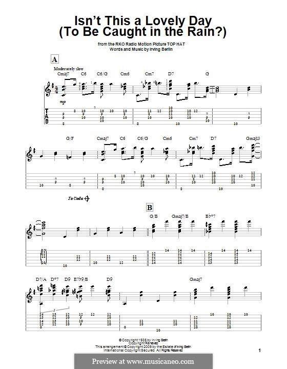Isn't This a Lovely Day (To Be Caught in the Rain?): For guitar with tab by Irving Berlin