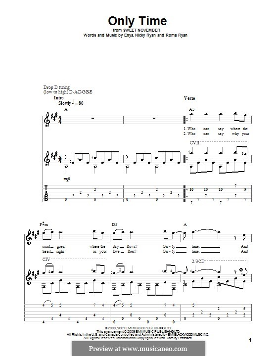 Only Time (Enya): For guitar with tab by Nicky Ryan, Roma Ryan