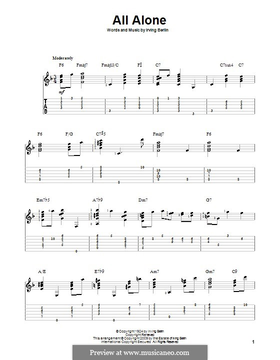 All Alone: For guitar with tab by Irving Berlin