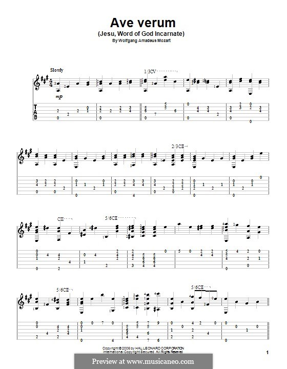 Ave verum corpus, K.618: For guitar by Wolfgang Amadeus Mozart