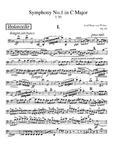 Symphony No.1 in C Major, J.50 Op.19: Cello part by Carl Maria von Weber
