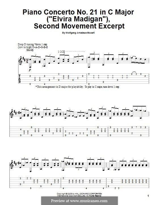 Concerto for Piano and Orchestra No.21 in C Major, K.467: Movement II (Fragment). Version for guitar by Wolfgang Amadeus Mozart