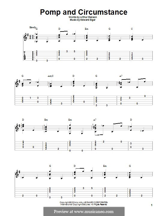 Pomp and Circumstance: For guitar by Edward Elgar