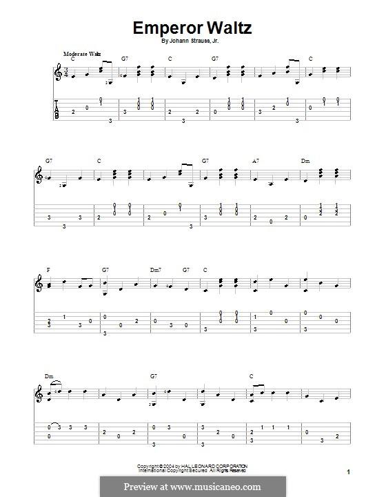 Emperor Waltz, Op.437: For guitar by Johann Strauss (Sohn)