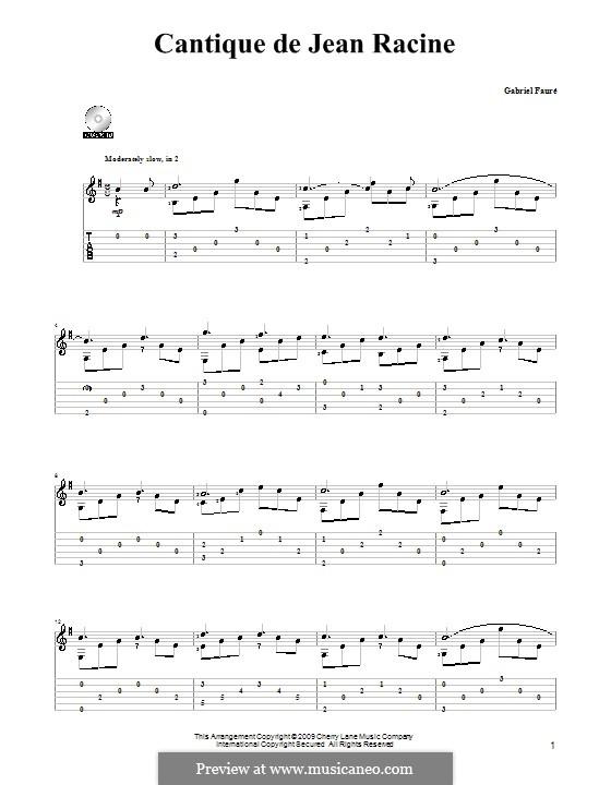 Cantique de Jean Racine, Op.11: For guitar by Gabriel Fauré