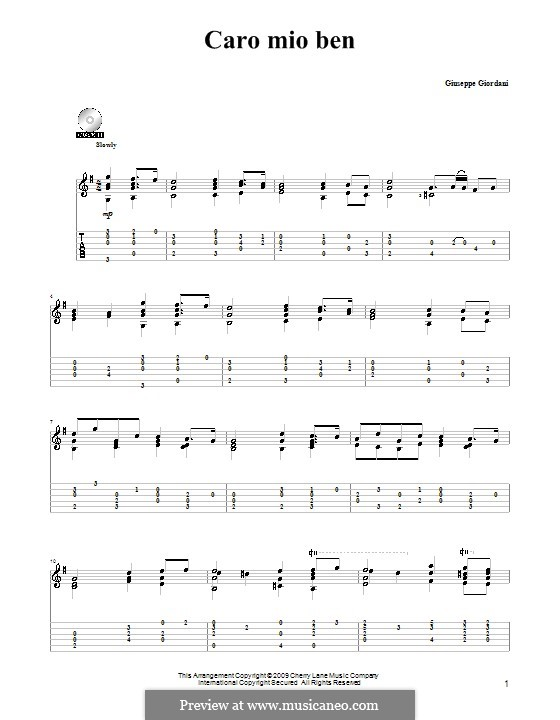Caro mio ben (O Maiden Dear): For guitar by Tommaso Giordani