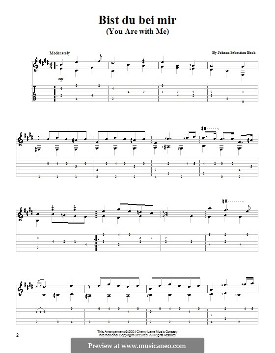 No.25 Bist du bei mir (You Are with Me), Printable scores: For guitar (with tab) by Johann Sebastian Bach