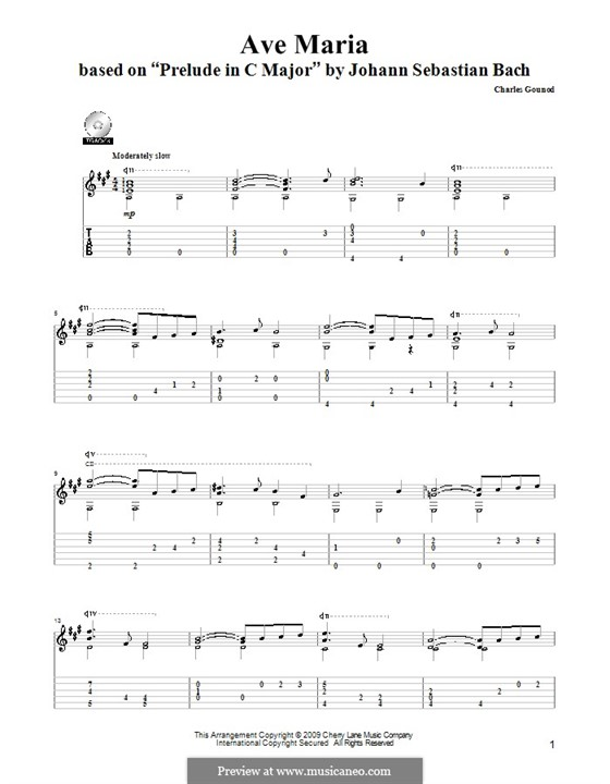 Ave Maria (Printable Sheet Music): For guitar by Johann Sebastian Bach, Charles Gounod
