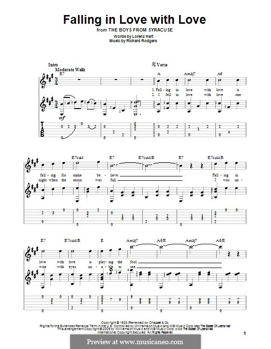 Falling in Love with Love: For guitar with tabulature by Richard Rodgers