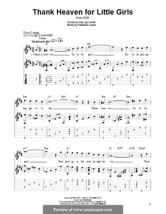 Thank Heaven for Little Girls (Maurice Chevalier): For guitar with tab by Frederick Loewe