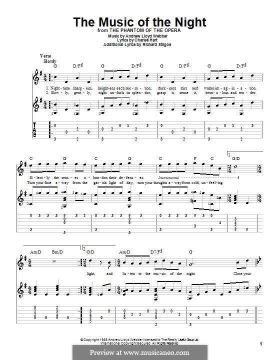The Music of the Night, instrumental version: For guitar with tab by Andrew Lloyd Webber