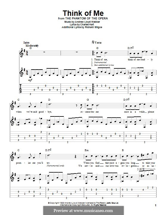 Think of Me: For guitar with tab by Andrew Lloyd Webber