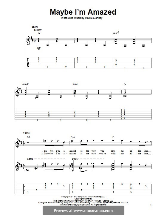 Maybe I'm Amazed: For guitar with tabulature by Paul McCartney