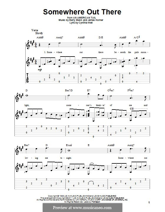 Somewhere Out There (from An American Tail): For guitar with tab by Barry Mann, Cynthia Weil, James Horner