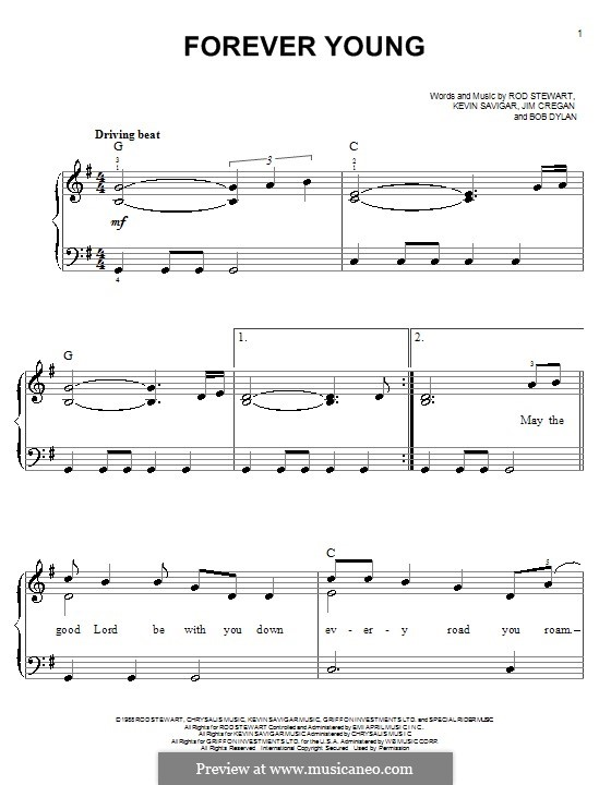 Forever Young II: For easy piano by Bob Dylan, Jim Cregan, Kevin Savigar, Rod Stewart