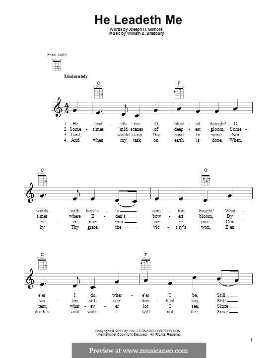 He Leadeth Me: For ukulele by William Batchelder Bradbury