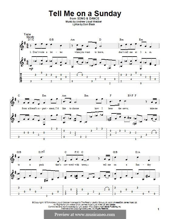 Tell Me on a Sunday: For guitar by Andrew Lloyd Webber