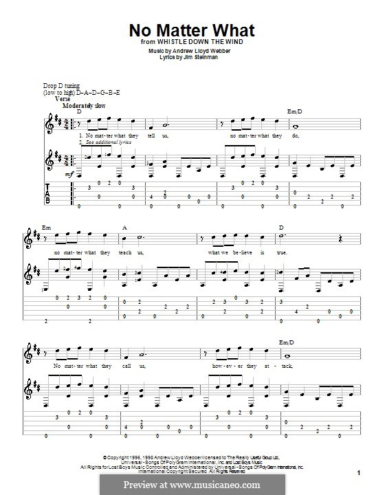 No Matter What (from Whistle Down the Wind): For guitar by Andrew Lloyd Webber
