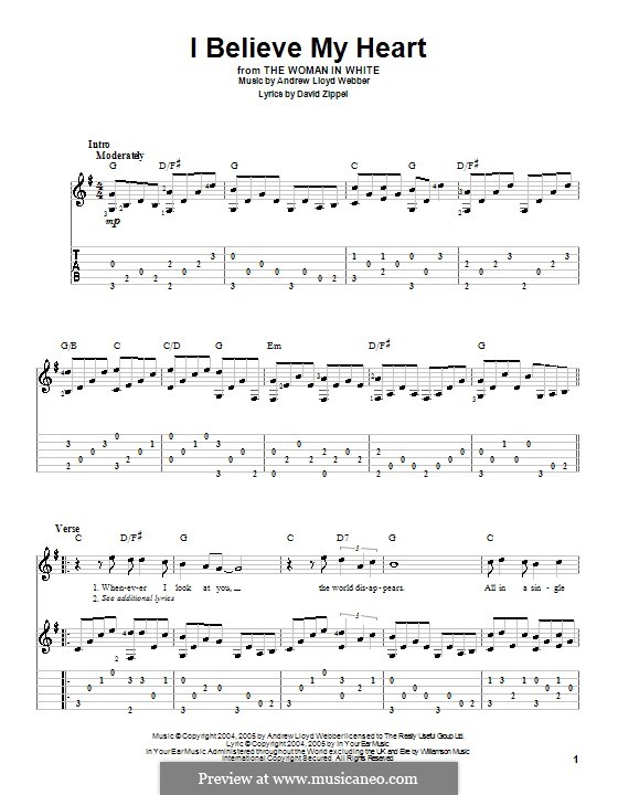 I Believe My Heart: For guitar with tab by Andrew Lloyd Webber