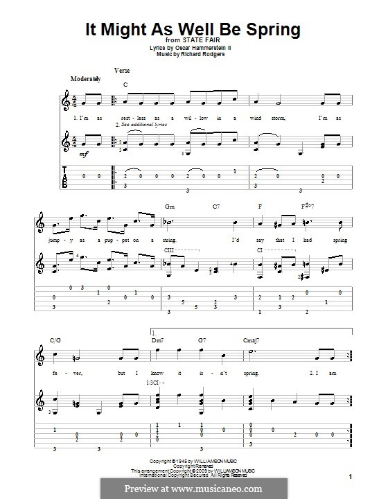 It Might as Well Be Spring: For guitar with tabulature by Richard Rodgers