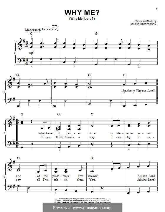 Why Me? (Why Me, Lord?): For easy piano by Kris Kristofferson