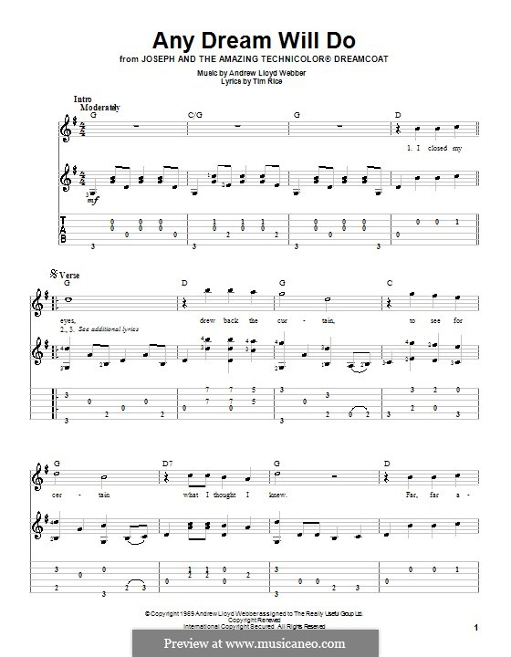 Any Dream Will Do: For guitar by Andrew Lloyd Webber