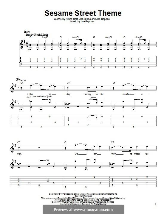 Sesame Street Theme: For guitar by Joe Raposo