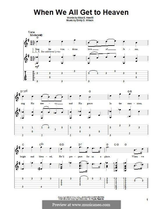 When We All Get To Heaven: For guitar with tab by Emily D. Wilson