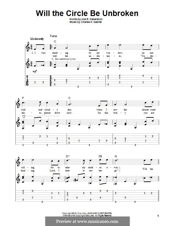 Will the Circle Be Unbroken: For guitar with tab by Charles Hutchinson Gabriel