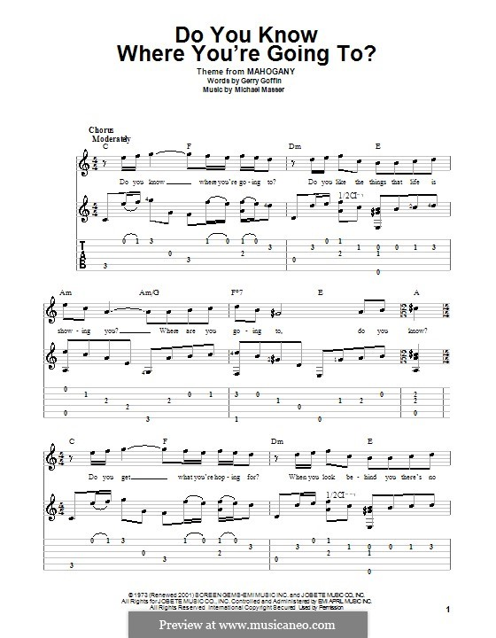 Do You Know Where You're Going To? (Diana Ross): For guitar with tab by Gerry Goffin, Michael Masser