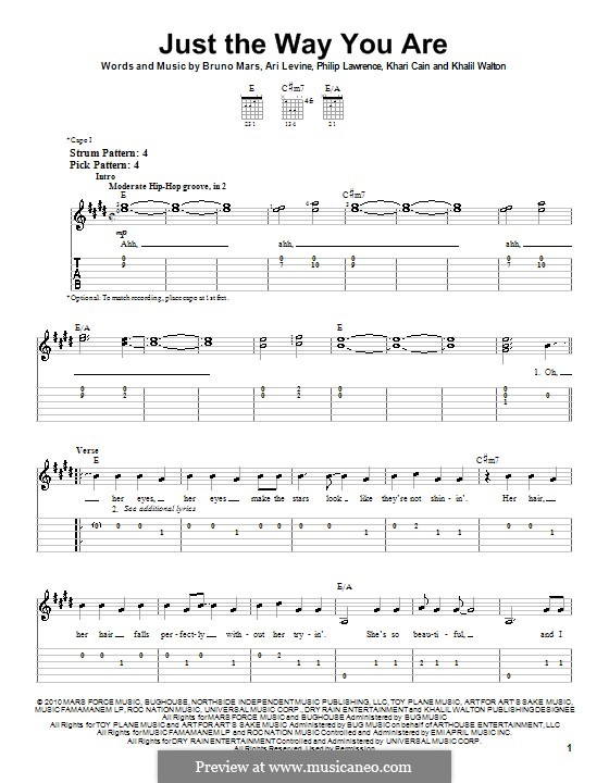 Just the Way You are: For easy guitar by Ari Levine, Khalil Walton, Khari Cain, Bruno Mars, Philip Lawrence