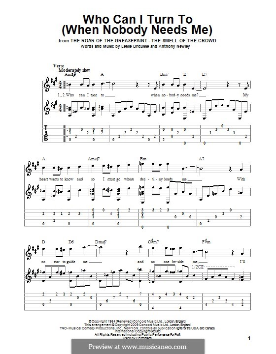 Who Can I Turn To?: For guitar with tab by Anthony Newley, Leslie Bricusse