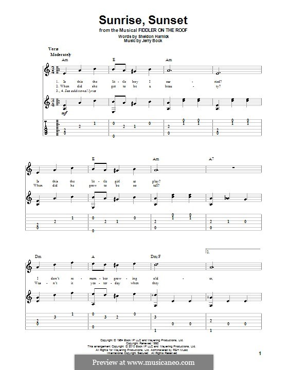 Sunrise, Sunset (from Fiddler on the Roof): For guitar with tab by Jerry Bock