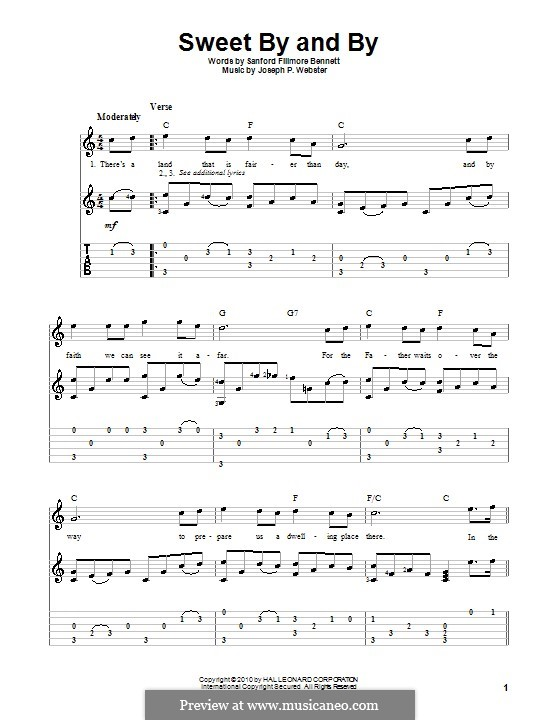 Sweet By and By: For guitar with tab by Joseph Philbrick Webster