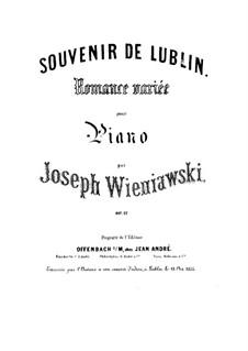 Souvenir de Lublin. Romance variée pour Piano, Op.12: Souvenir de Lublin. Romance variée pour Piano by Józef Wieniawski
