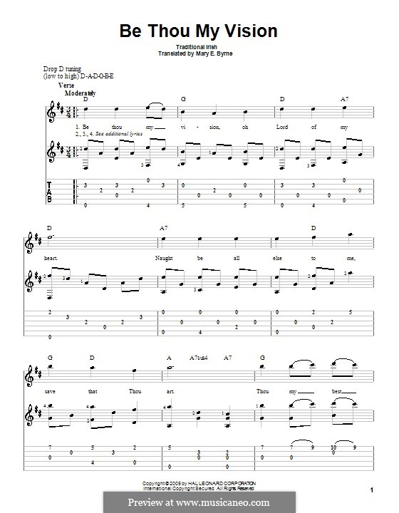 Be Thou My Vision (Printable scores): For guitar with tab by folklore