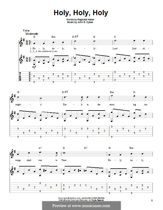 Holy, Holy, Holy! Lord God Almighty: For guitar with tab by John Bacchus Dykes