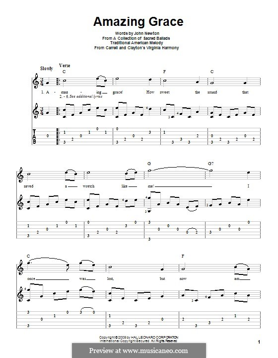 Amazing Grace (Printable Scores): For guitar with tab by folklore