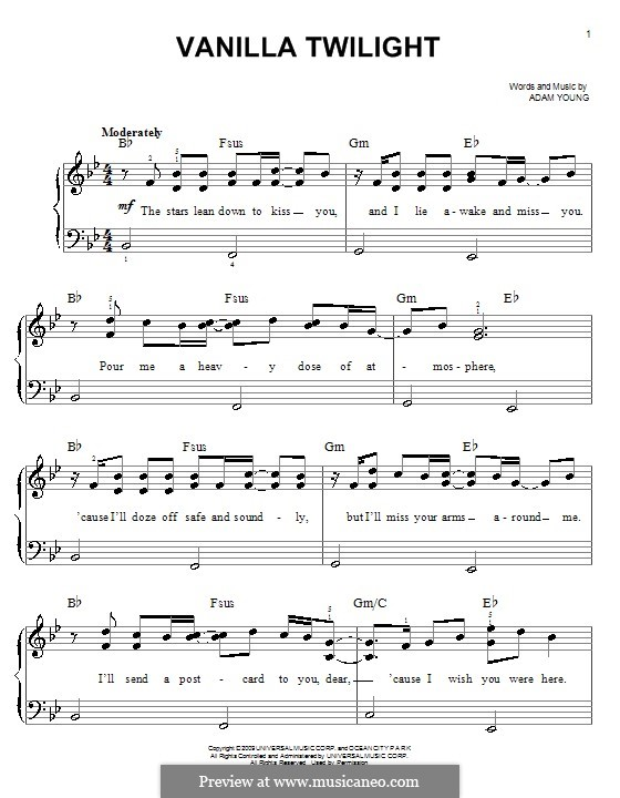Vanilla Twilight (Owl City): For easy piano by Adam Young