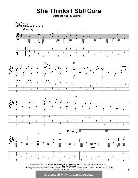 She Thinks I Still Care (George Jones): For guitar with tab by Dickey Lee