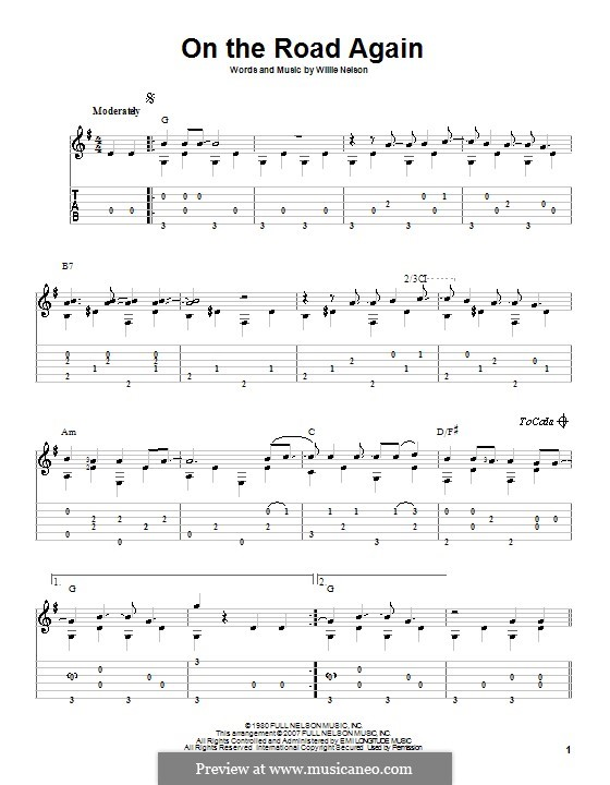 On the Road Again: For guitar with tab by Willie Nelson