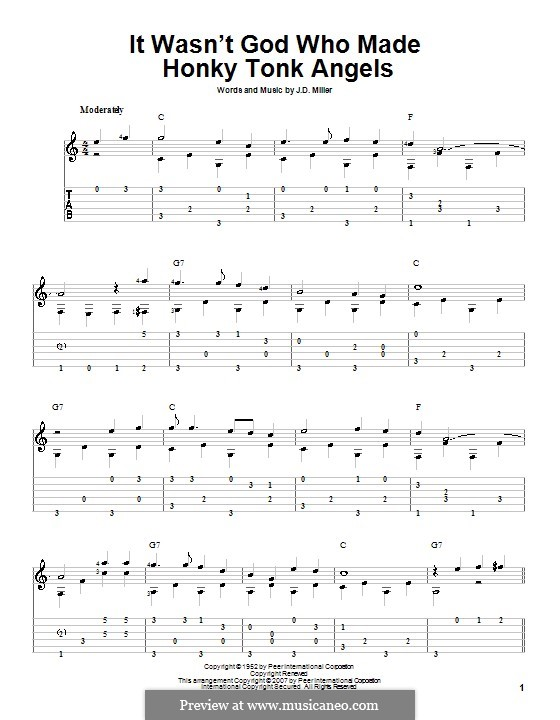 It Wasn't God Who Made Honky Tonk Angels (Patsy Cline): For guitar with tab by J.D. Miller