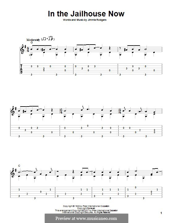 In the Jailhouse Now: For guitar with tab by Jimmie Rodgers