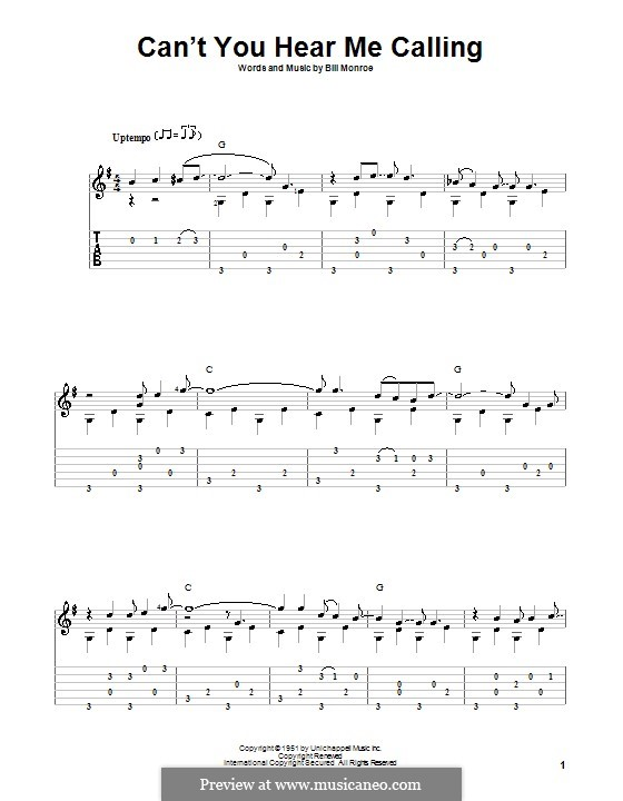 Can't You Hear Me Callin': For guitar with tab by Bill Monroe