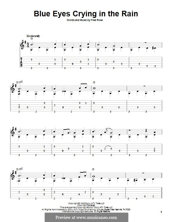 Blue Eyes Crying in the Rain (Willie Nelson): For guitar with tab by Fred Rose