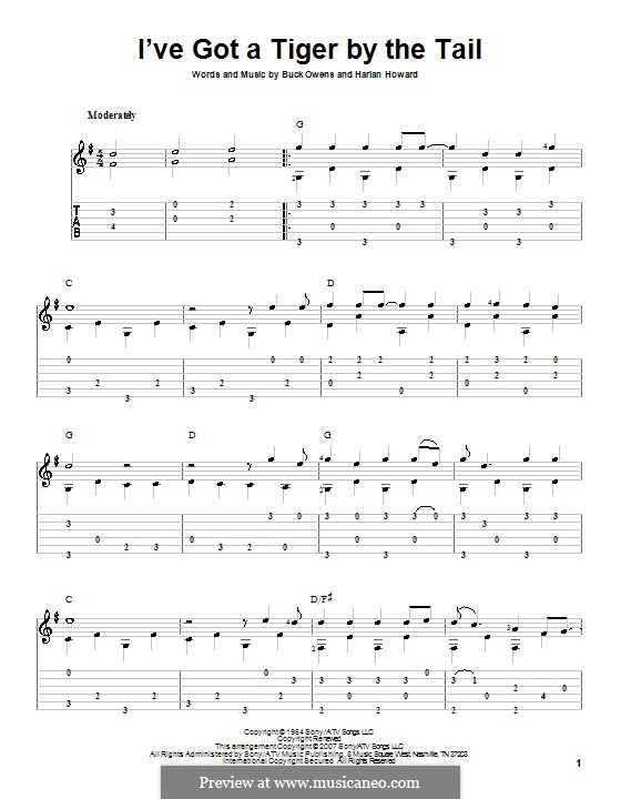 I've Got a Tiger By the Tail (Buck Owens): For guitar with tab by Harlan Howard