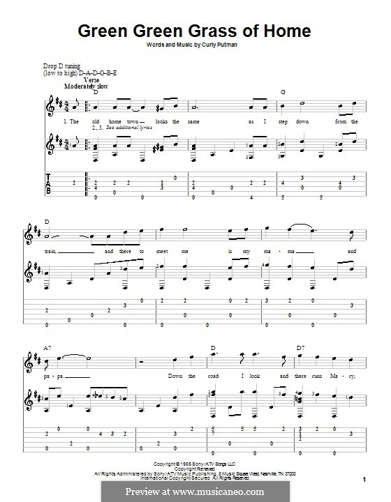 Green Green Grass of Home: For guitar by Curly Putman
