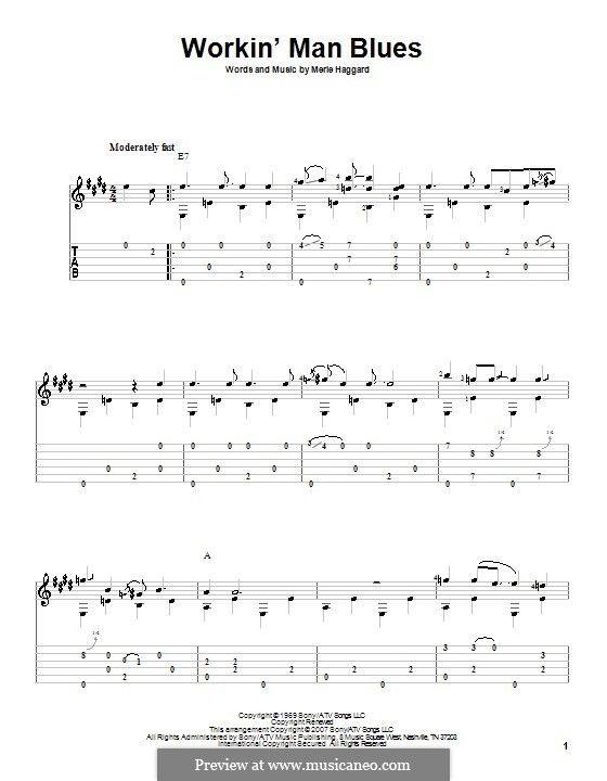 Workin' Man Blues: For guitar with tab by Merle Haggard