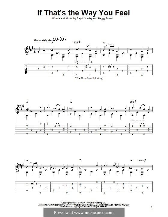If That's the Way You Feel (Ralph Stanley): For guitar with tab by Peggy Bland
